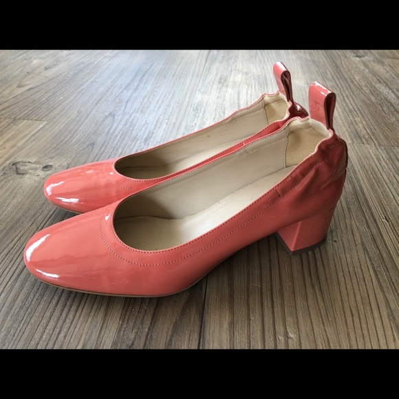 04e4e03587d5 Everlane Shoes - Everlane Patent Coral Pink Work Heels